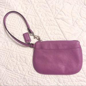 Coach purple leather wristlet